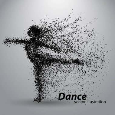 Silhouette of a dancing girl from particles