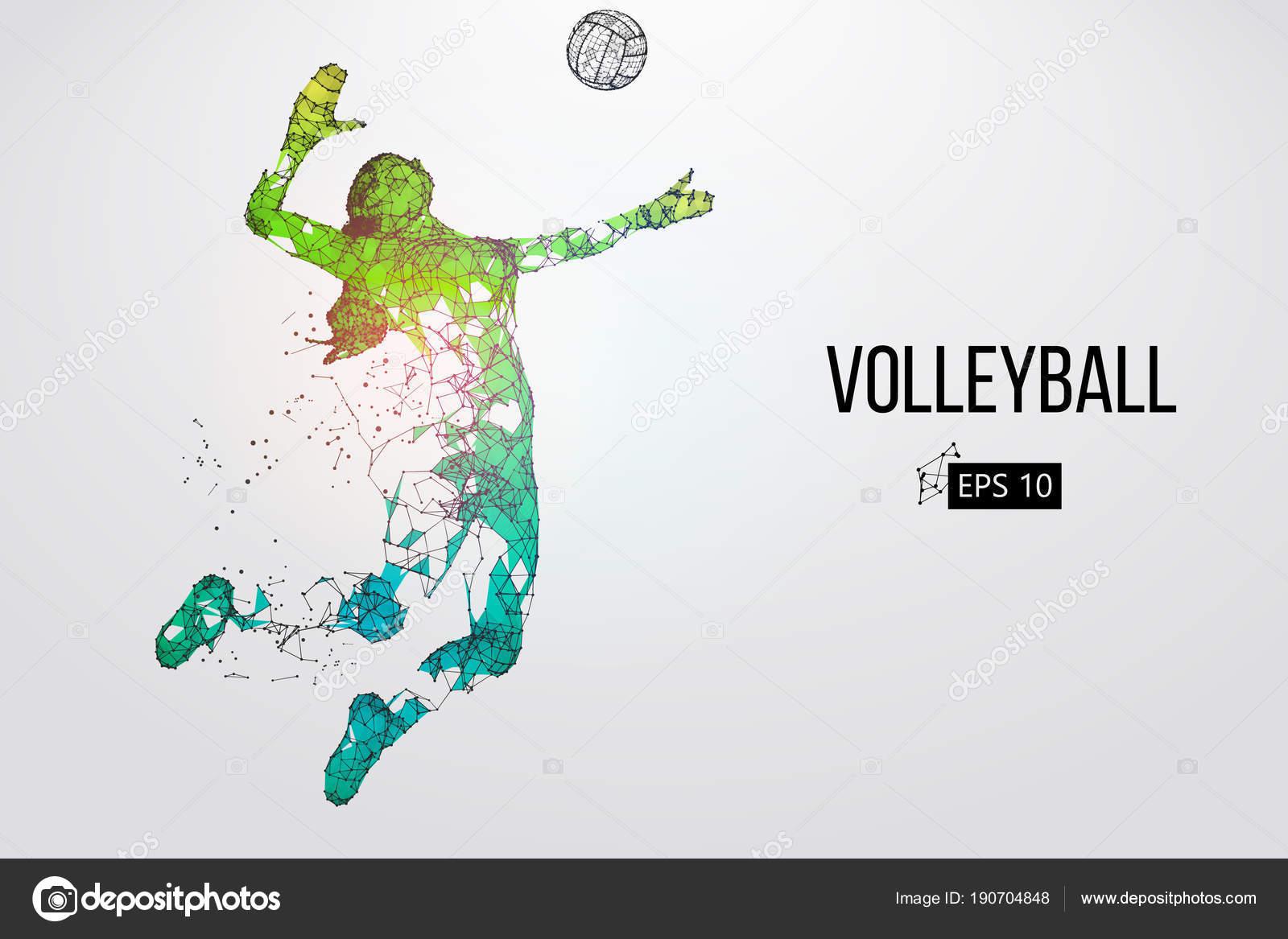 Silueta De Jugador De Voleibol. Ilustración De Vector