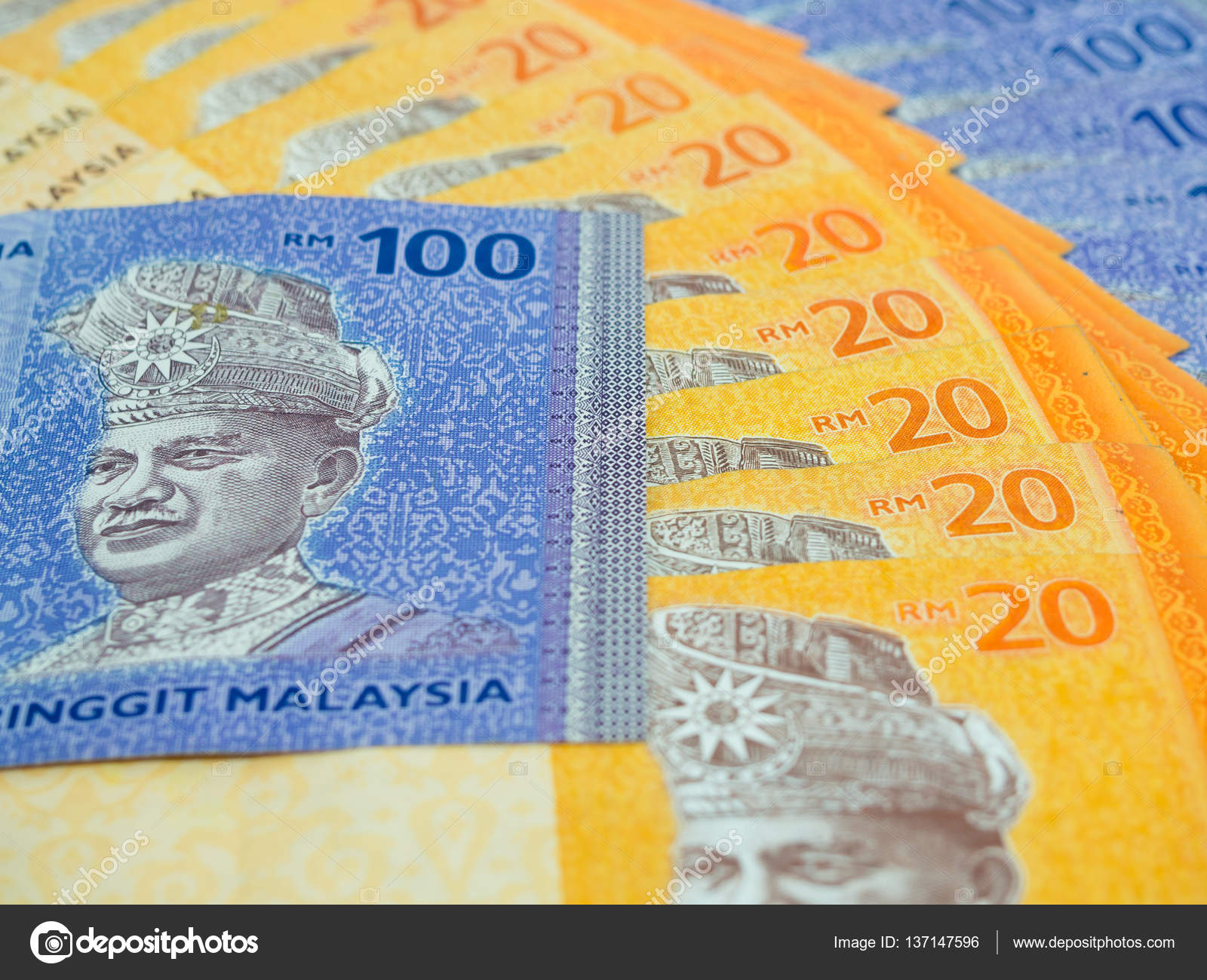 Close Up of Malaysia currency RM 20 and 100 ringgit Banknotes