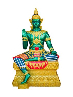 Green God Indra statue and isolate white background