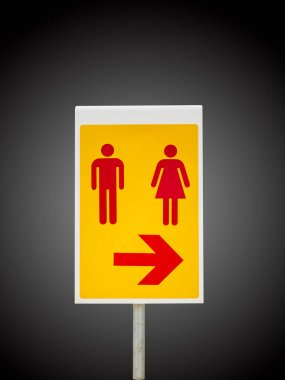 Toilet Sign and Symbol with arrow isolate on gradient Black and white background