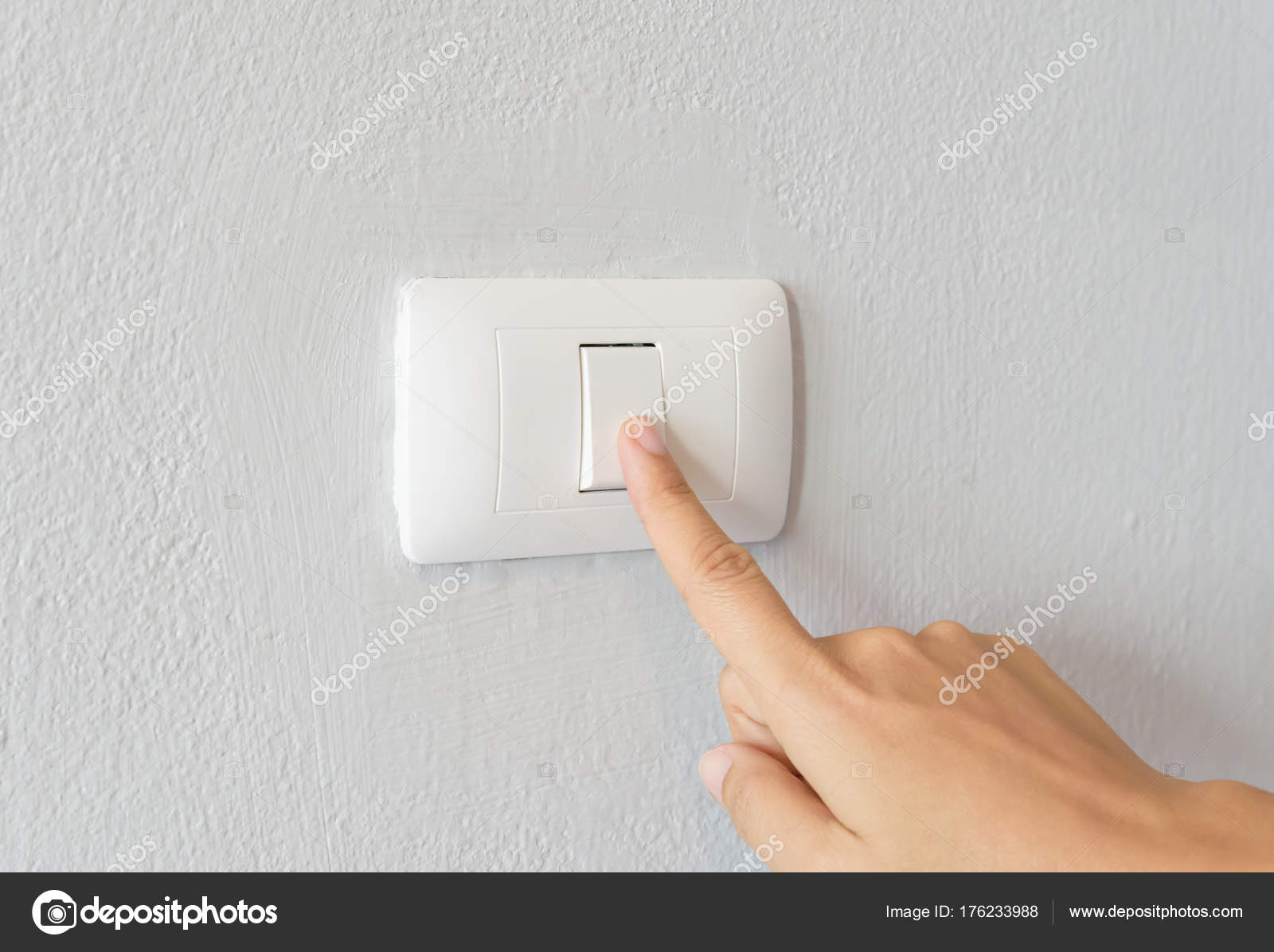 Close up of woman finger turning on light switch — Stock Photo ...