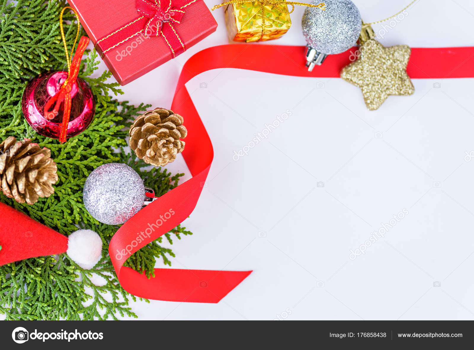 New Year Greeting Card Template | Christmas Decoration On White Background And New Year Greeting Card