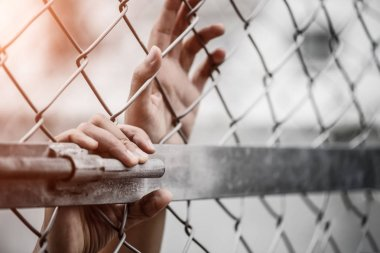 Woman hand holding on chain link fence
