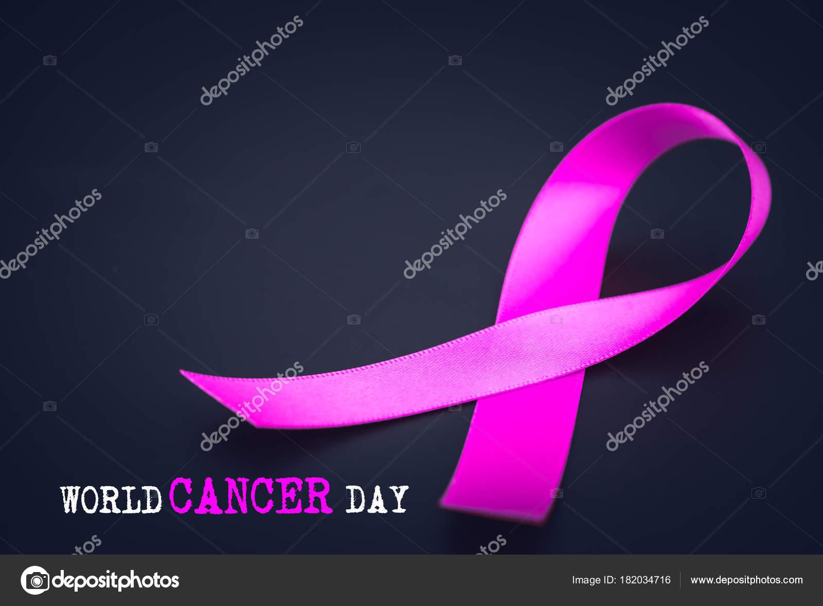purple ribbon awareness black background world cancer day stock