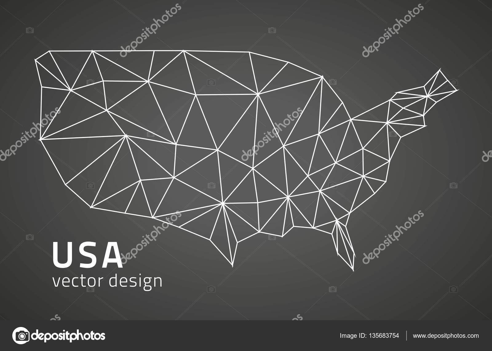 United States of America vector black triangle mosaic ...