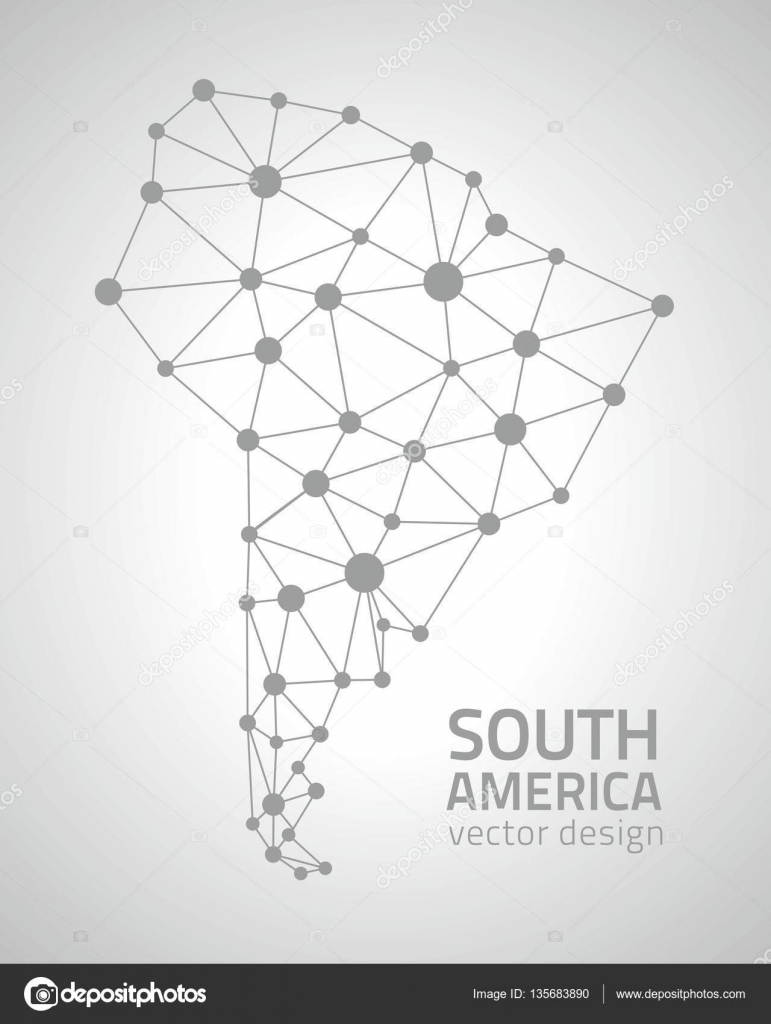 South America Vector Grey Dot Outline Triangle Map  Stock Vector - South america map outline