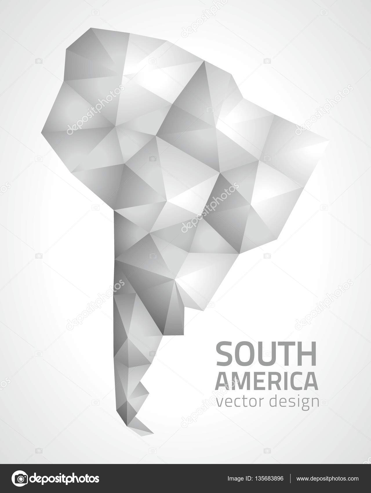 Map Of America 3d Vector.South America Vector Mosaic 3d Grey Shadow Modern Perspective
