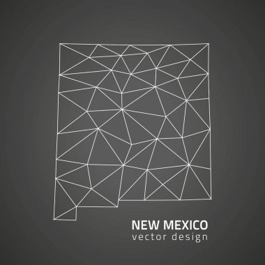 New Mexico vector black outline polygonal triangle map