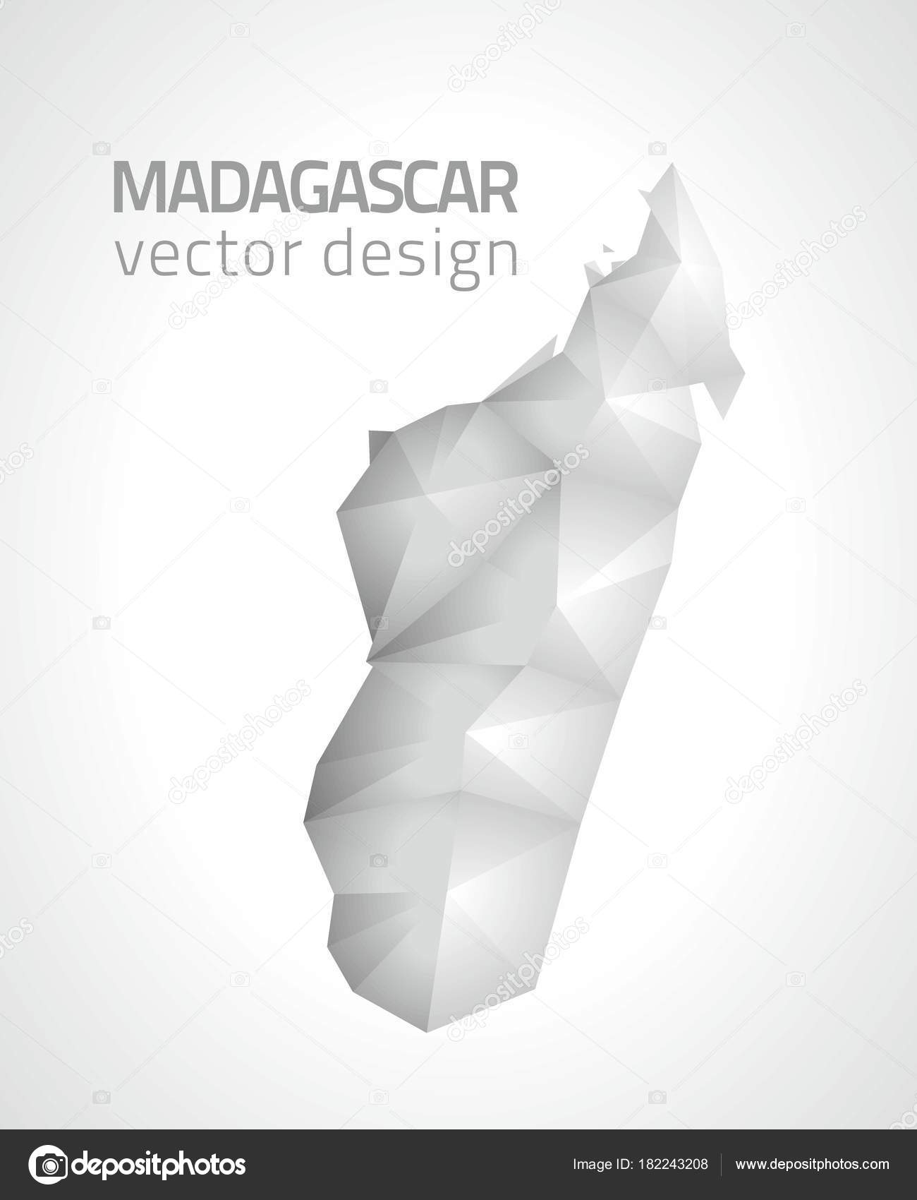Carte Grise Madagascar.Madagascar Polygonale Vector Carte Grise Argentee Image