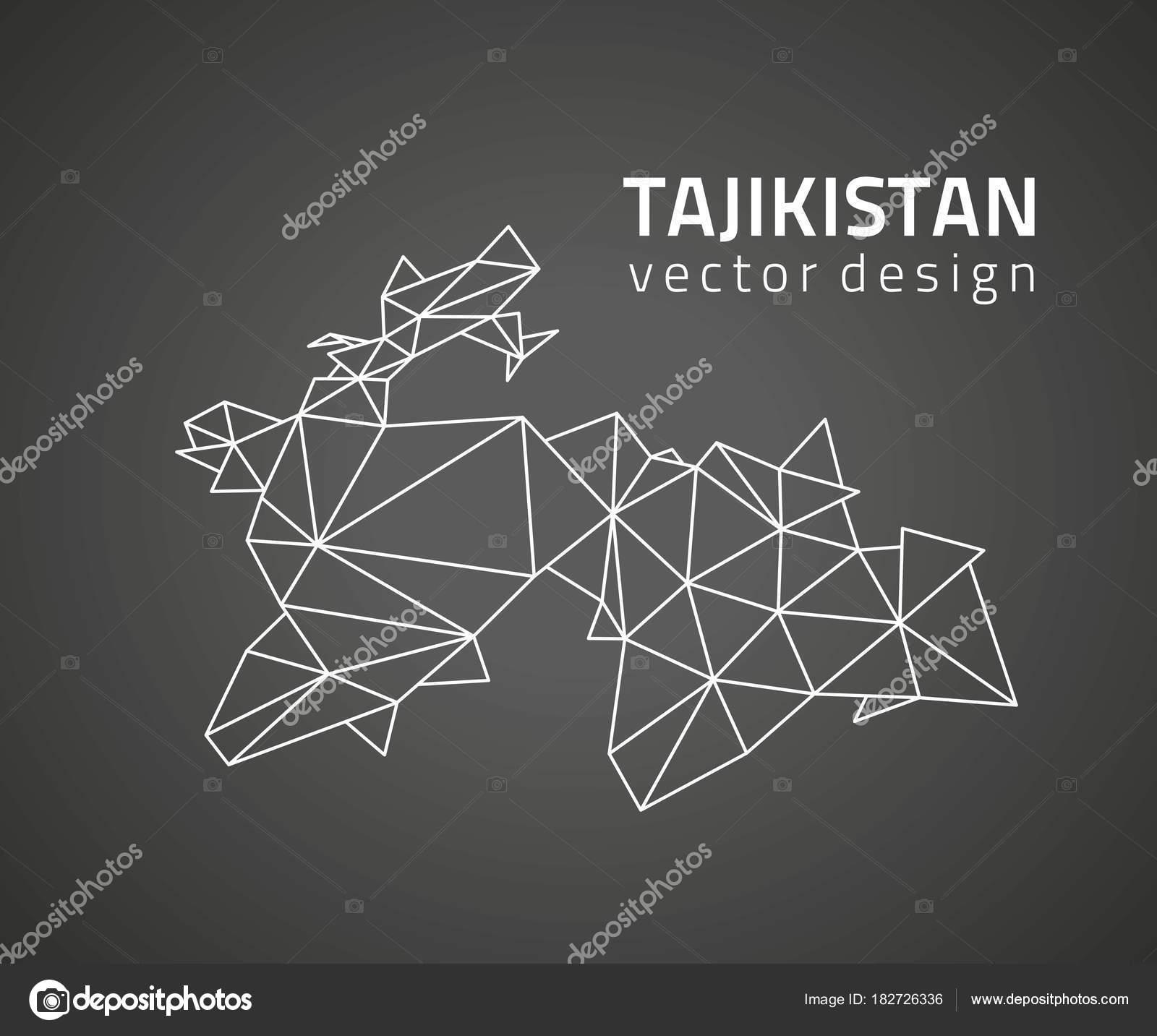 Tajikistan Black Vector Triangle Perspective Geometry Map Stock - Tajikistan map vector