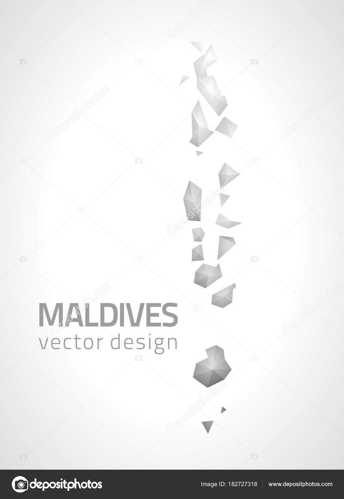 Maldives Polygonal Grey Silver Vector Modern Triangle Map — Stock ...