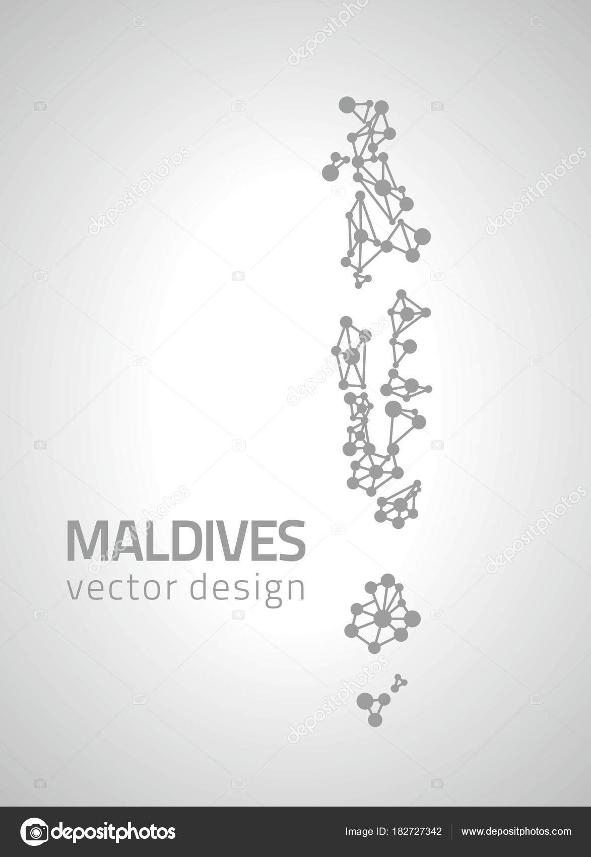 Maldives Grey Vector Dot Contour Map Stock
