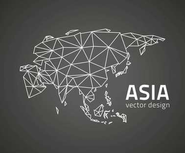 Asia black mosaic vector modern outline map