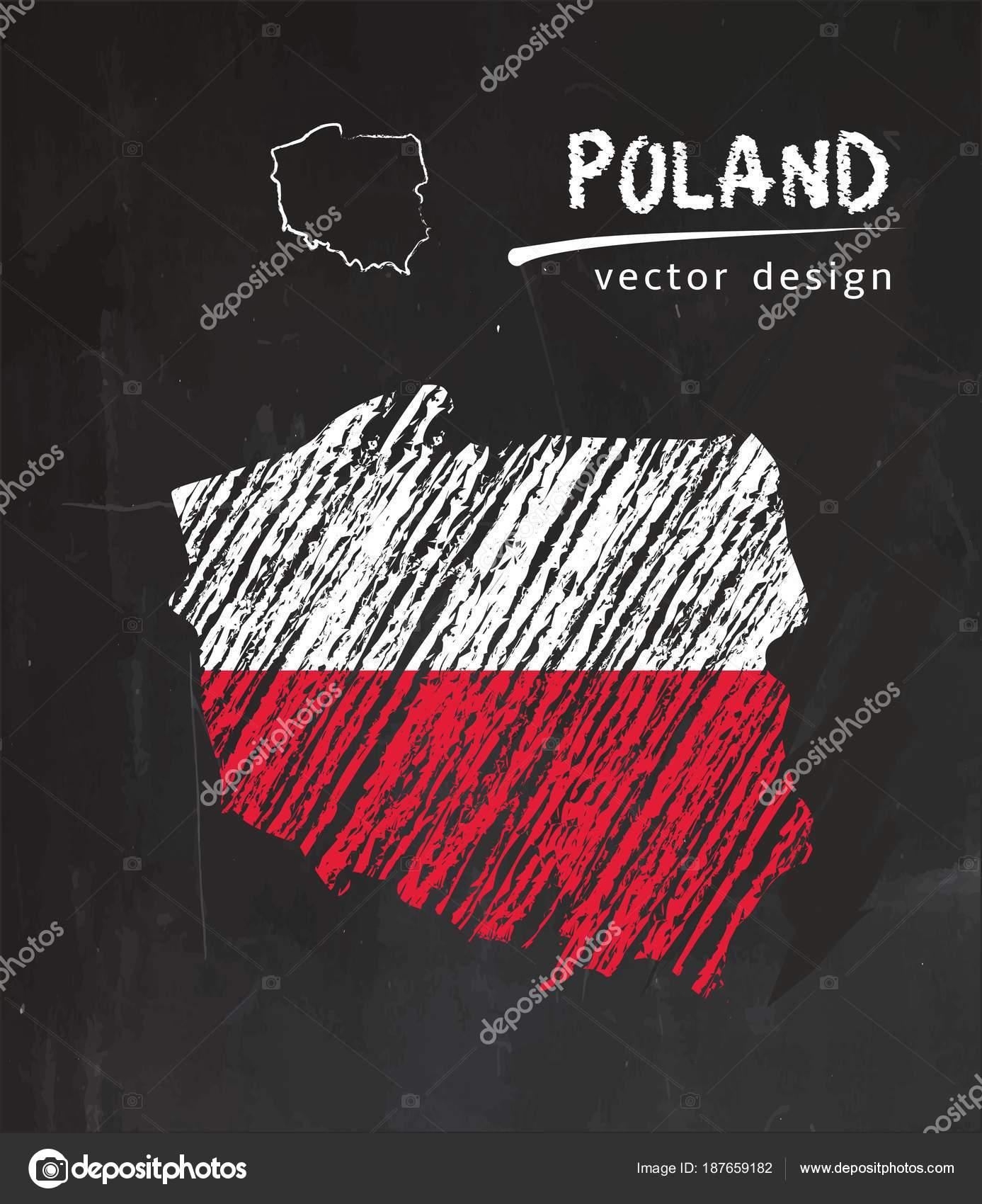 Poland Map Flag Blackboard Chalk Sketch Vector Illustration — Stock ...
