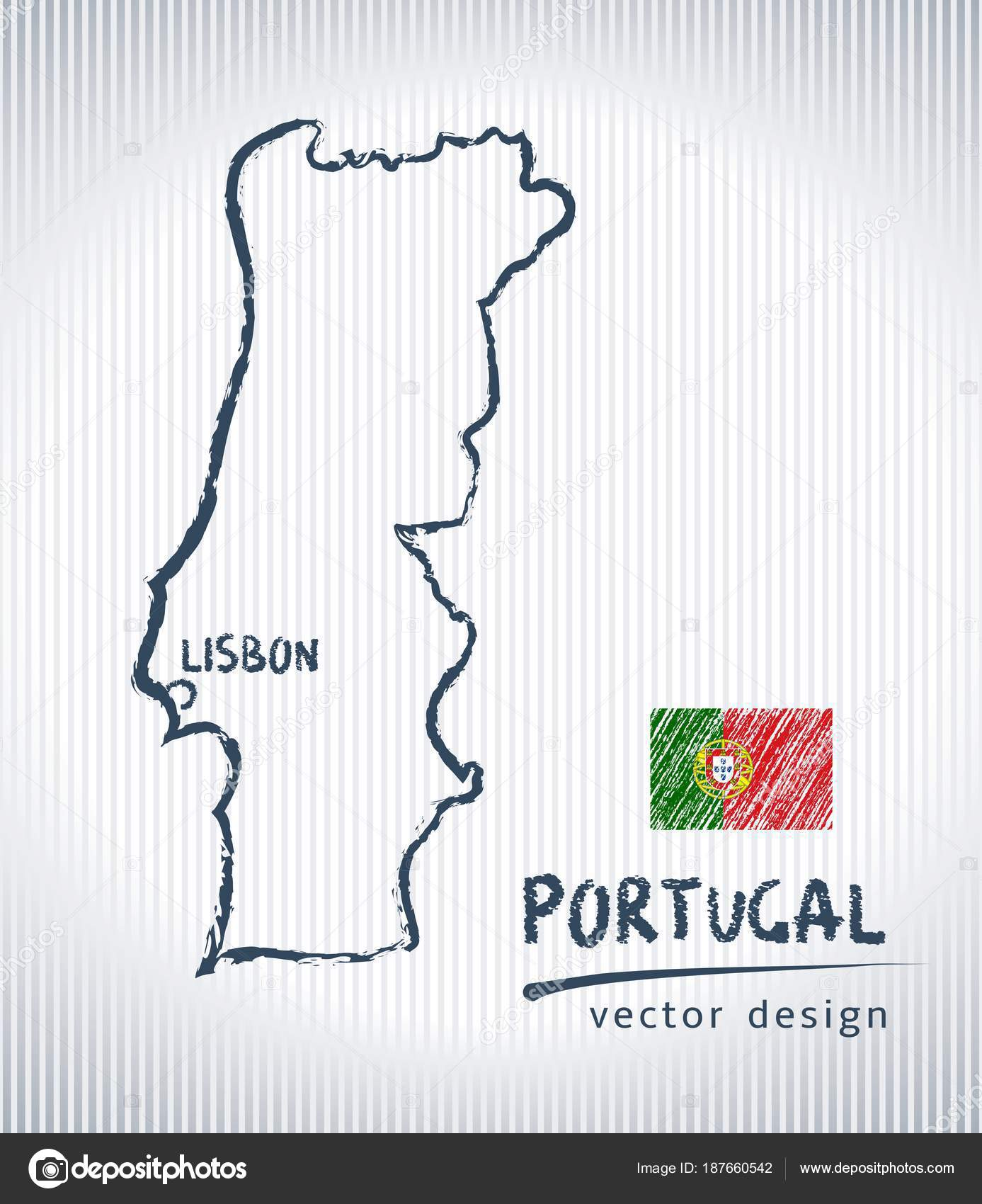 Portugal National Vector Drawing Map White Background Stock