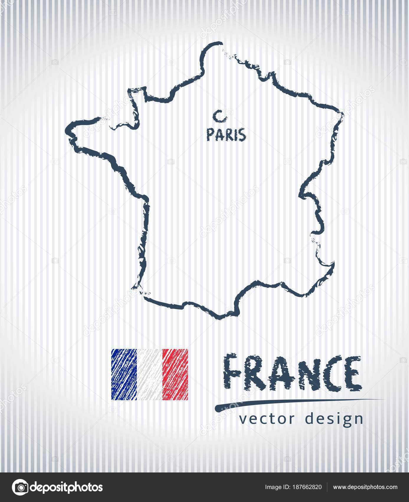 Map Of France Drawing.France Vector Chalk Drawing Map Isolated White Background