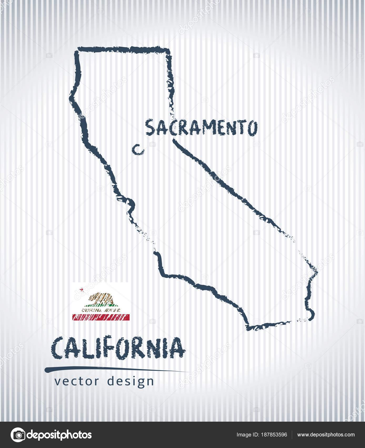 California Vector Chalk Drawing Map Isolated White Background