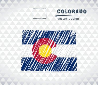 Colorado vector map with flag inside isolated on a white background. Sketch chalk hand drawn illustration