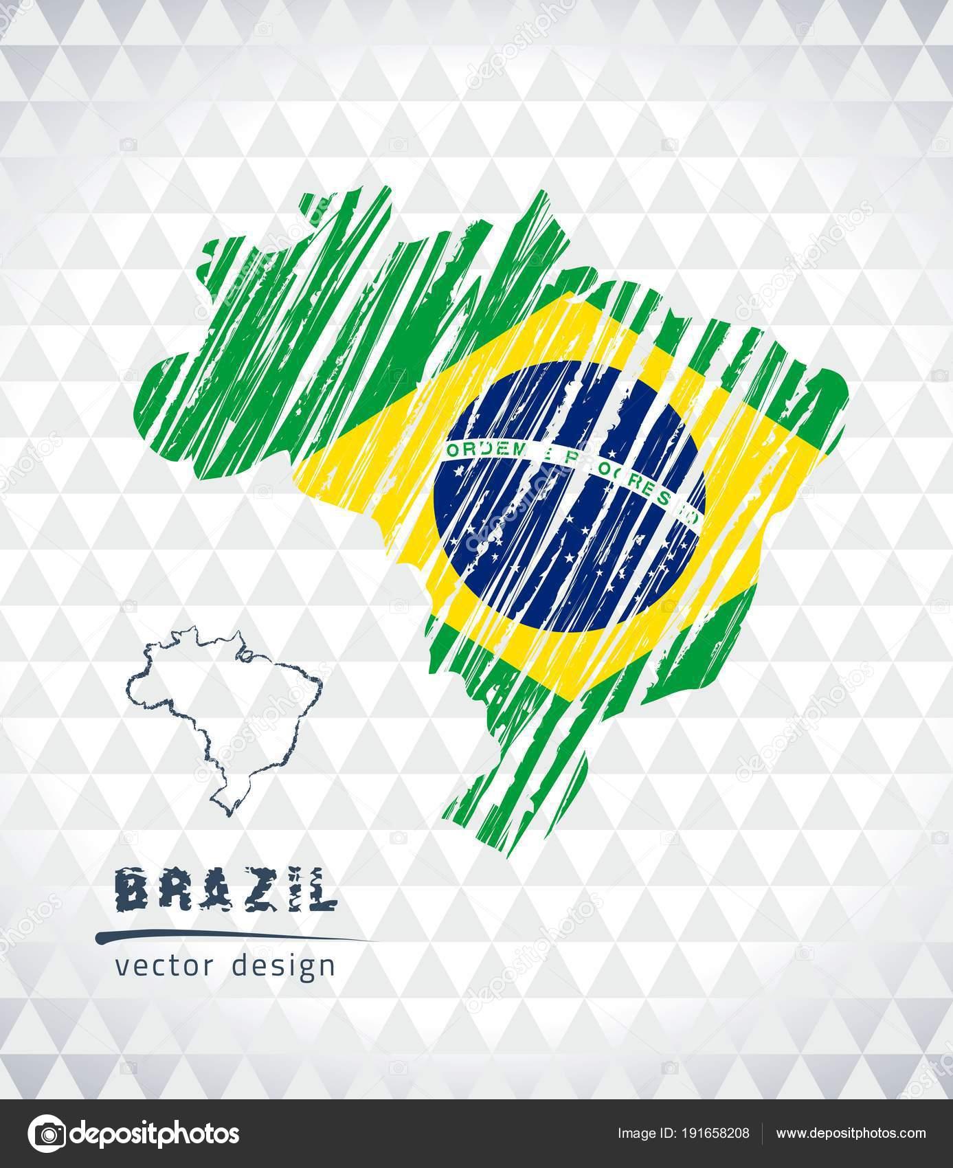 Map Brazil Hand Drawn Sketch Pen Map Vector Illustration Stock