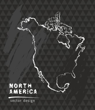 North America map, vector pen drawing on black background