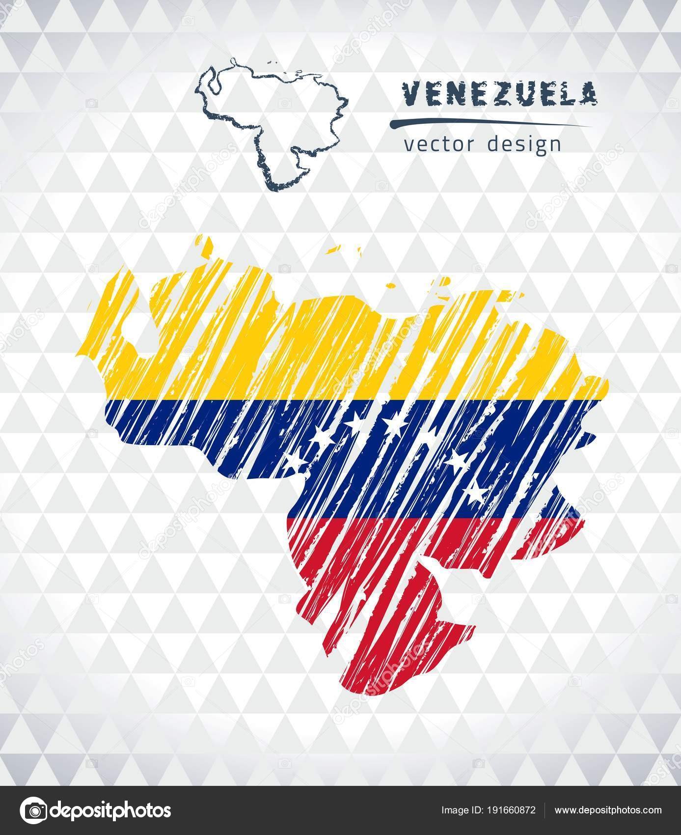 Venezuela Vector Map Flag Isolated White Background Sketch Chalk