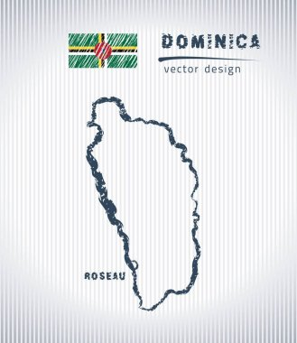 Dominica vector chalk drawing map isolated on a white background