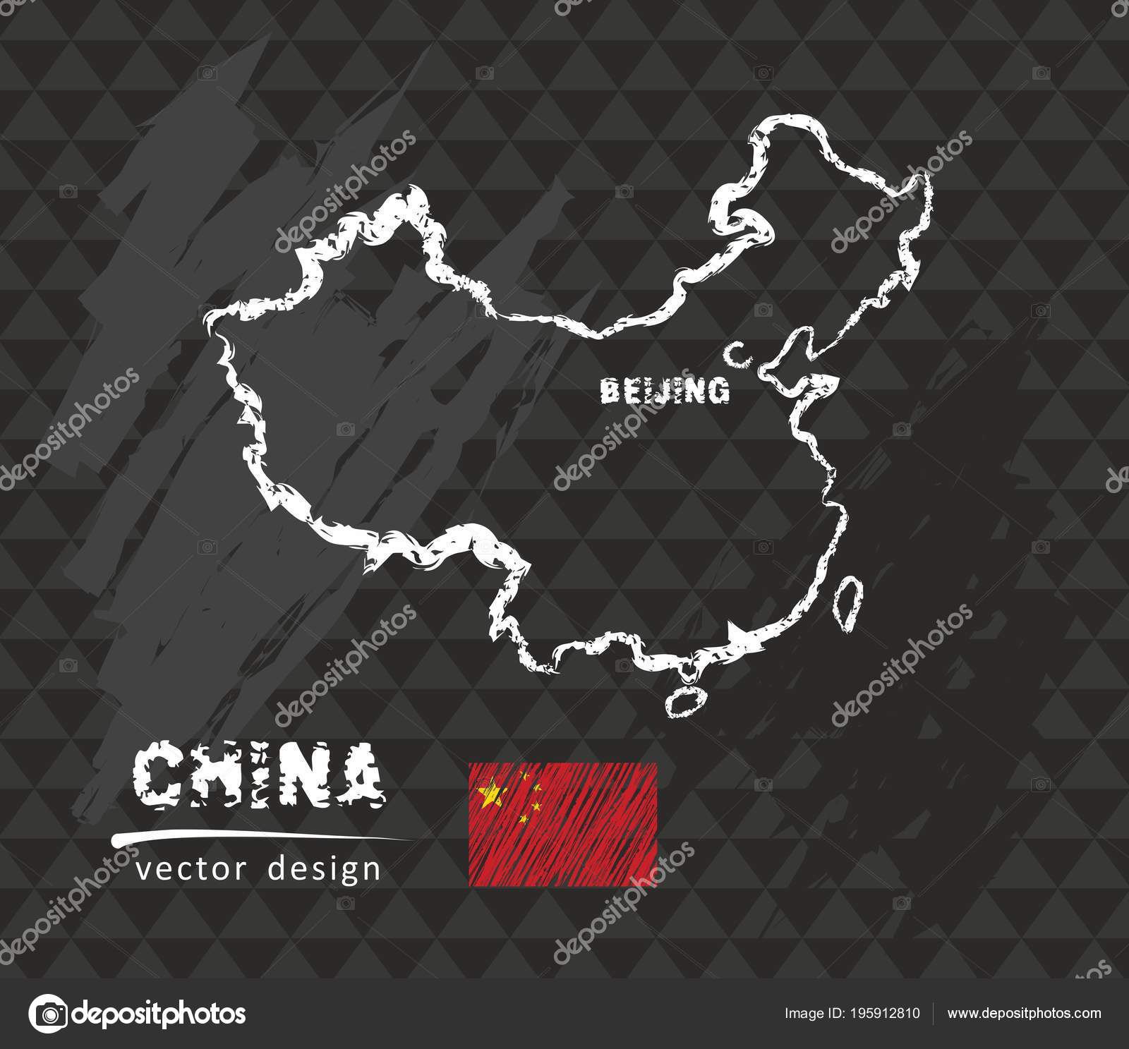 Mapa China Ilustración Vector Dibujo Tiza — Vector de stock ...