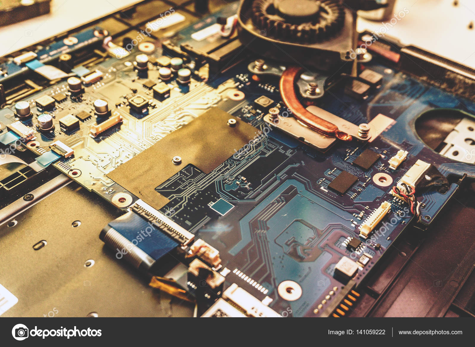 Disassembled Laptop Printed Circuit Board With Many Electrical Green Microchips And Transistors Royalty Components Close Up Image Technology Hardware Electronic Concept Photo By Dedmityay