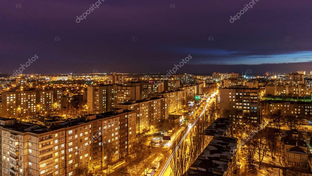 Night cityscape view of Voronezh city from rooftop