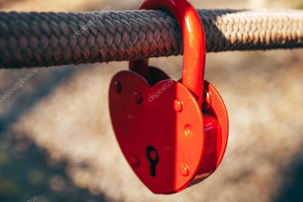 Red lock in shape of  heart