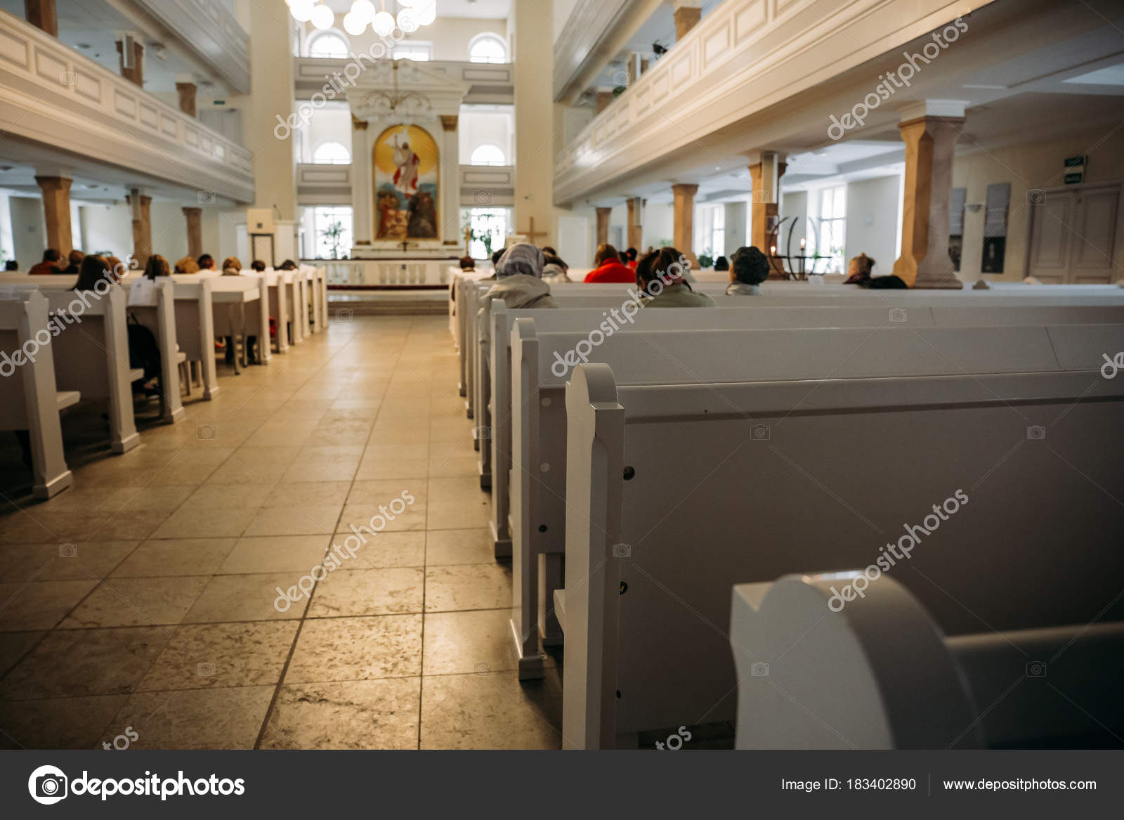 Awesome Rows Of Church White Wooden Benches Blurred Church Interior Alphanode Cool Chair Designs And Ideas Alphanodeonline