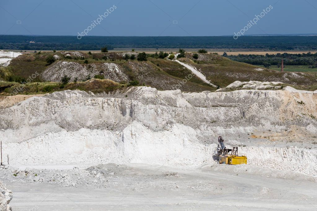 Open mine cast chalk quarry limestone, industrial production of mineral and ore