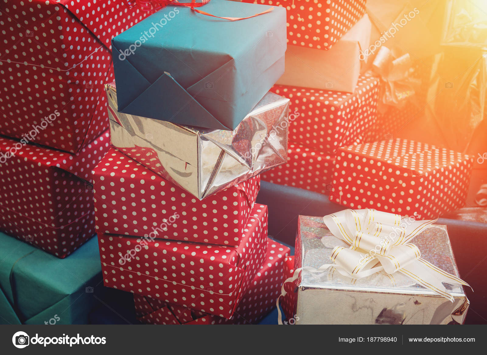 Stack Of Colorful Handmade Gift Boxes Sunlight Effect Stock Photo
