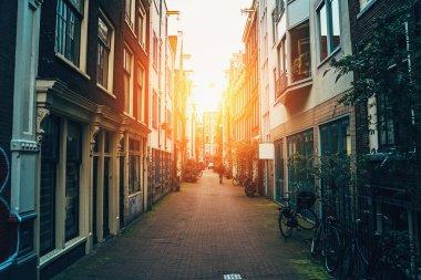 """Картина, постер, плакат, фотообои """"street of amsterdam, old narrow street in downtown at sunset"""", артикул 361532208"""