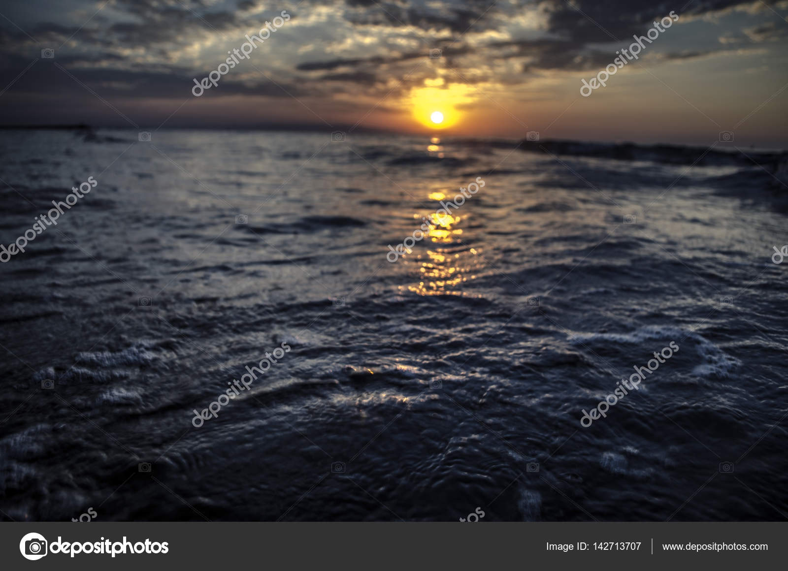 Beautiful Blazing Sunset Landscape At Caspian Sea And Orange