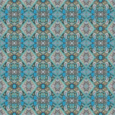 Beautiful seamless eastern carpet decoration pattern, abstract ornament of round and square or rhombus elements. The texture background of carpets. Multi colored. Useful as wallpaper