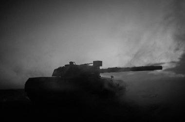 War Concept. Military silhouettes fighting scene on war fog sky background, World War German Tanks Silhouettes Below Cloudy Skyline At night. Attack scene. Armored vehicles. Tanks battle stock vector