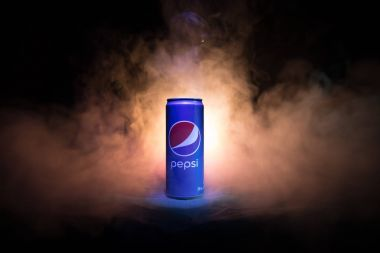 BAKU, AZERBAIJAN - JANUARY 13,2018 : Pepsi can against dark toned foggy background.
