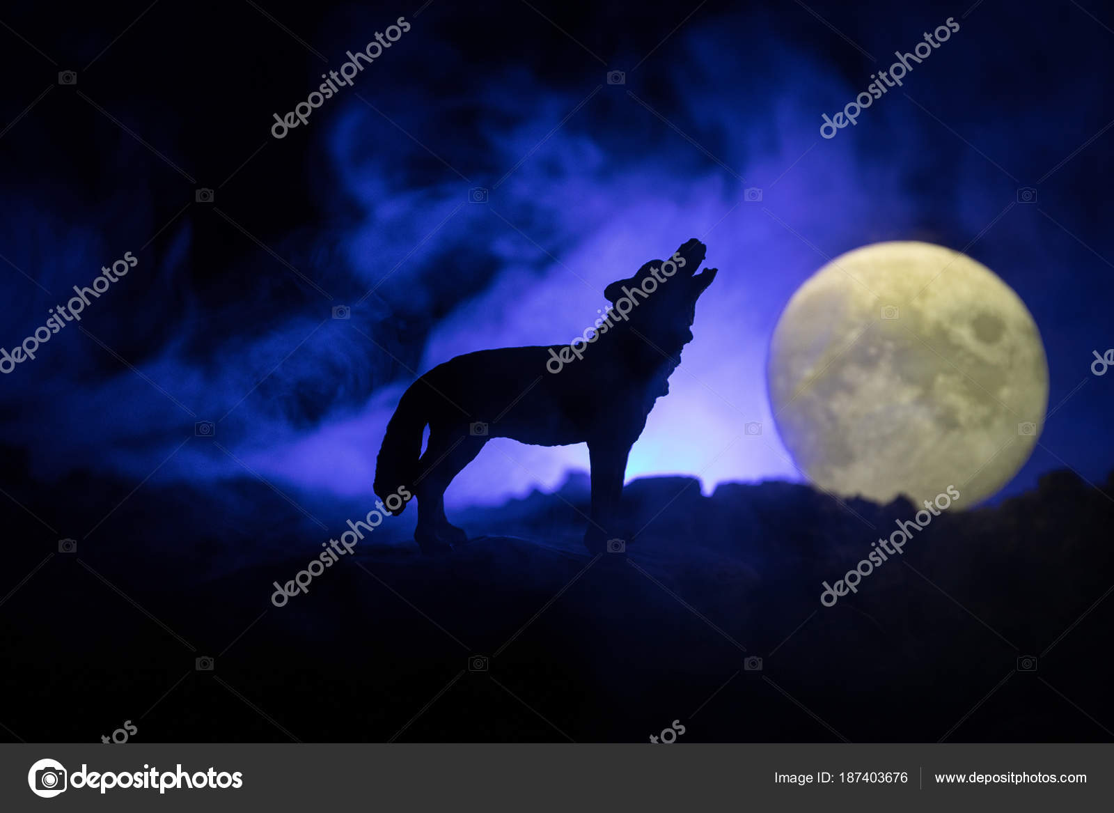 silhouette of howling wolf against dark toned foggy background and