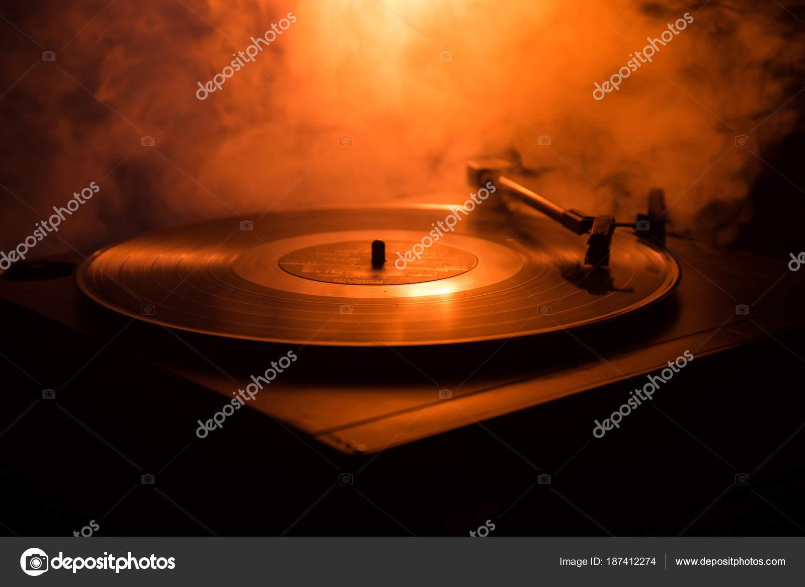 Turntable vinyl record player  Retro audio equipment for