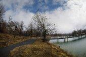 Lago della foresta con ponte durante la giornata di sole con alberi di inverno e cielo nuvoloso blu. Lago di montagna bella naturale con la foresta sullo sfondo e tempestoso delle nubi sul cielo