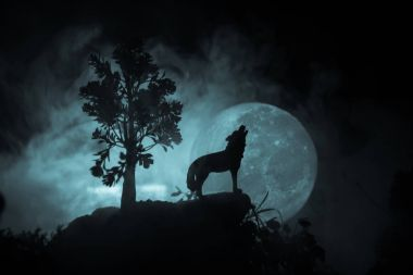Silhouette of howling wolf against dark toned foggy background and full moon or Wolf in silhouette howling to the full moon. Halloween horror concept.