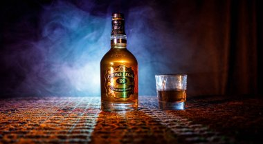 BAKU, AZERBAIJAN - MARCH 25, 2018: Blended from whiskies matured for at least 18 years, Chivas Regal 18 Gold Signature is a blended Scotch whisky produced by Chivas Brothers in Keith, Scotland.