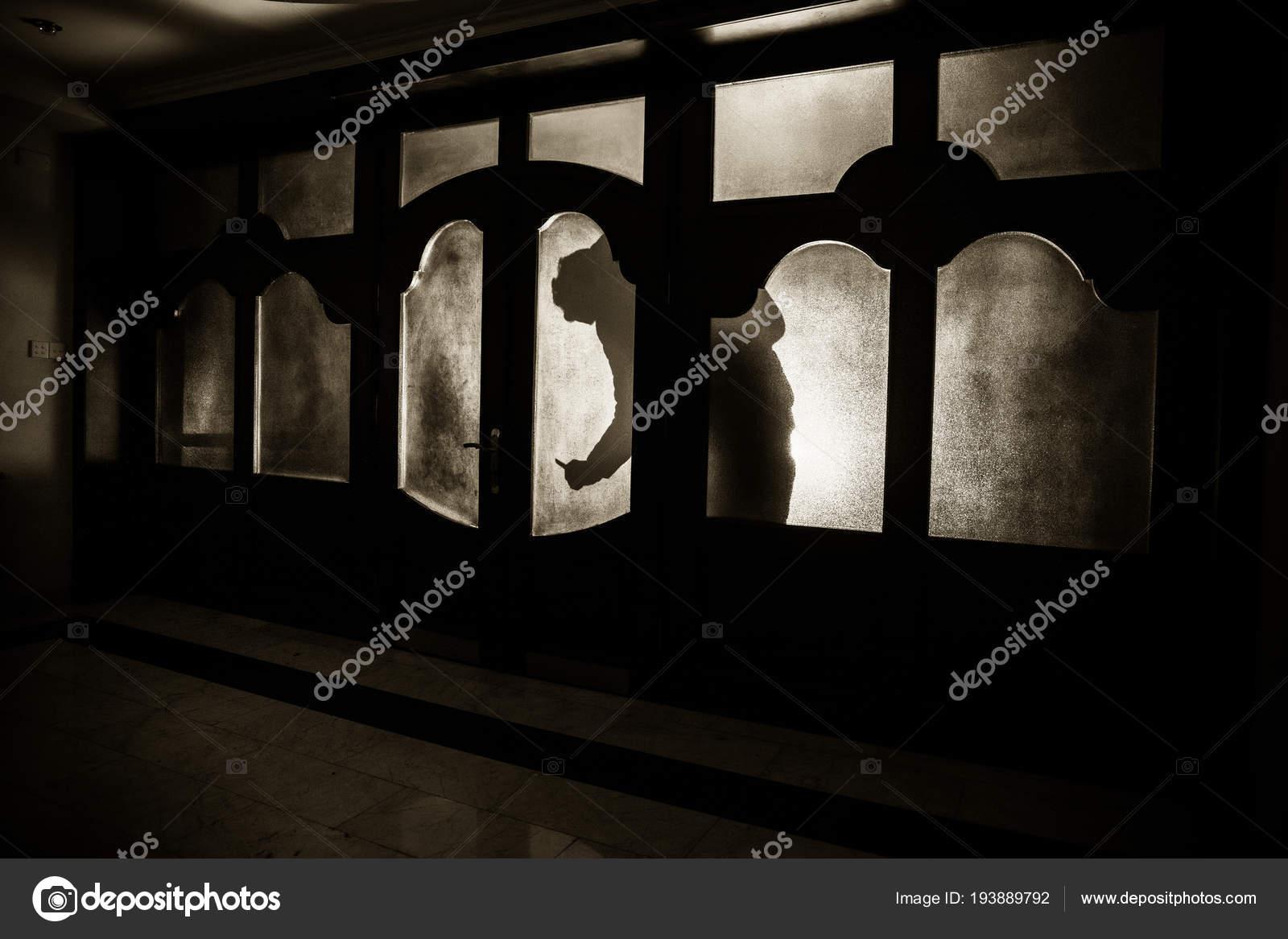 Silhouette Unknown Shadow Figure Door Closed Glass Door Silhouette