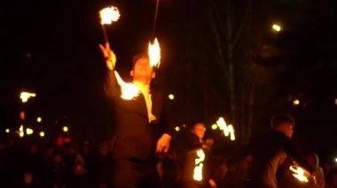 Novokuzneck, Russia, 21.10.2017: fire show on the street
