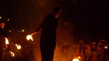 Novokuzneck, Russia, 21.10.2017: fire show on the street