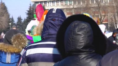 Russia, Novokuznetsk - 18.02.2018: a crowd of people on holiday in the winter
