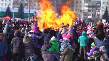Novokuzneck, Russia - February 18, 2018: the burning of effigies in the street