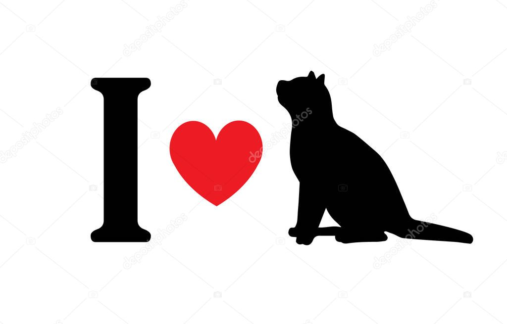 Vector flat black I love cat silhouette sign isolated on white background icon